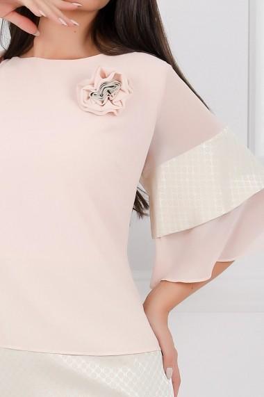 Rochie de zi midi Ejolie nude cu maneci cu volane