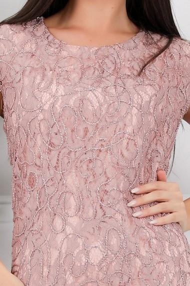 Rochie Patricia roz pastel din dantela cu aplicatii din lurex