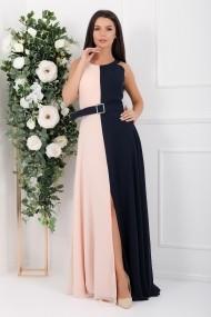 Rochie lunga Zuri din voal in doua culori roz si bleumarin