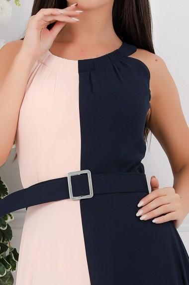 Rochie de seara lunga Ejolie din voal in doua culori roz si bleumarin