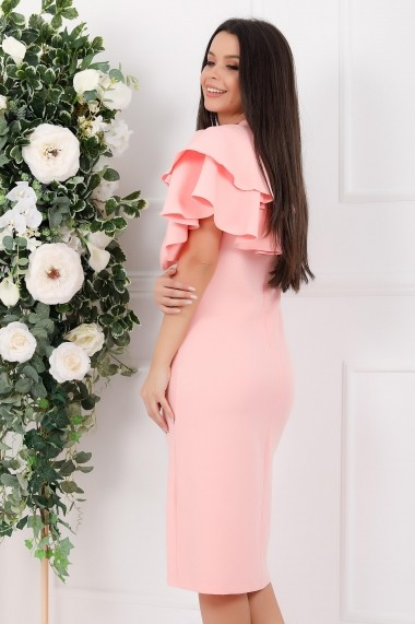 Rochie de zi midi Ejolie roz cu volane maxi pe un umar
