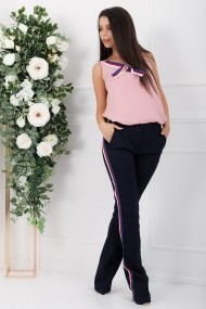 Compleu Mika din doua piese cu bluza roz si pantaloni bleumarin