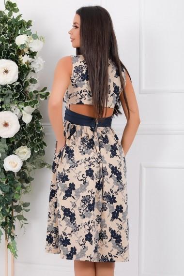 Rochie de zi midi Ejolie bej din bumbac cu flori bleumarin