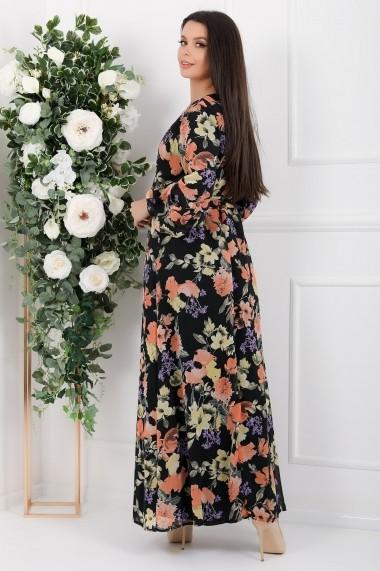 Rochie de zi lunga Ejolie neagra din voal cu flori