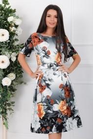 Rochie de zi midi Ejolie in pliuri cu imprimeu floral gri si caramiziu