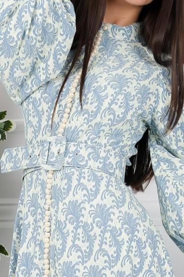 Rochie Calliope bleu cu maneci bufante si nasturi tip perla