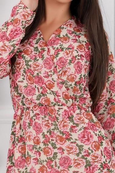 Rochie lunga Avalyn alba din voal cu flori roze
