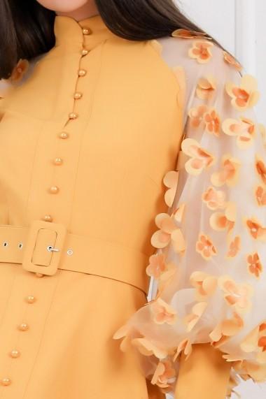 Rochie Kimora galbena cu maneci bufante si nasturi tip perla
