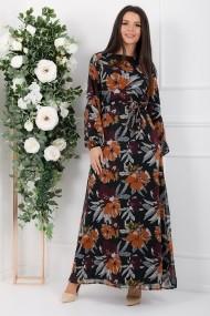 Rochie lunga Kamilah neagra din voal cu flori caramizii