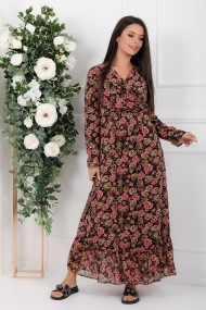Rochie lunga Avalyn neagra din voal cu flori roz si maro
