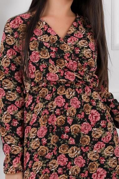 Rochie de zi lunga Ejolie neagra din voal cu flori roz si maro