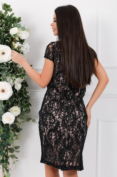 Rochie de seara Ejolie neagra din dantela cu aplicatii din lurex si captuseala roze
