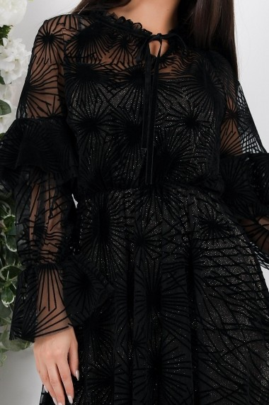 Rochie Kataleya neagra din tull cu catifea si jupon din lurex