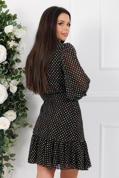 Rochie de zi midi Ejolie neagra cu buline colorate