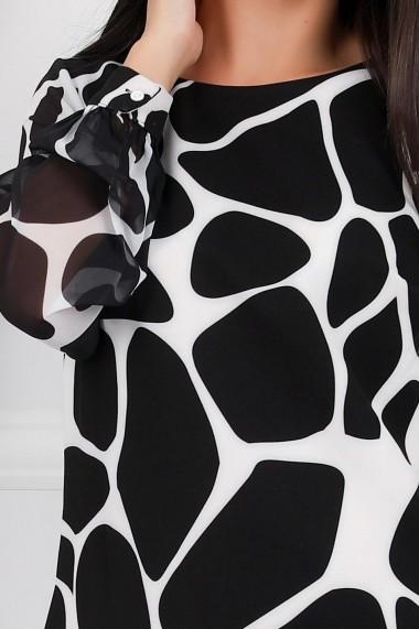 Rochie Teresa neagra cu imprimeu alb tip zebra