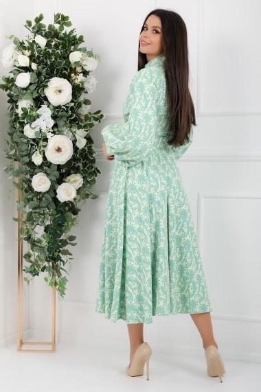 Rochie Calliope verde pastel cu maneci bufante si nasturi tip perla