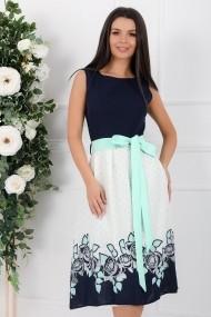 Rochie Corinne alba cu bleumarin cu detalii verde pastel