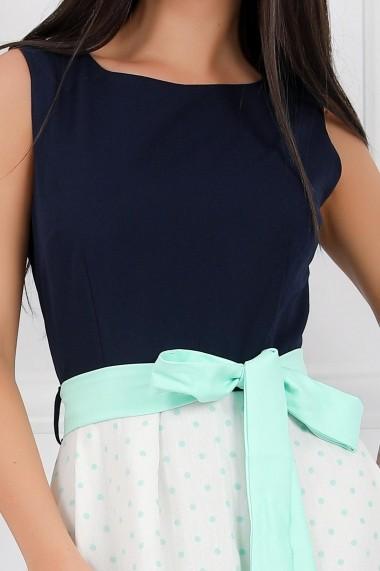 Rochie de zi midi Ejolie alba cu bleumarin cu detalii verde pastel