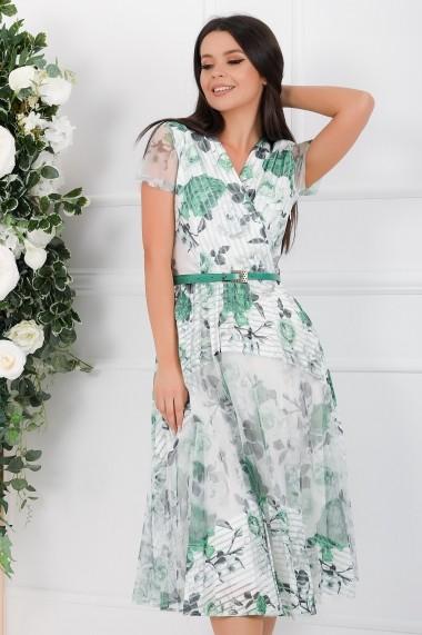 Rochie Maliah alba cu imprimeu verde