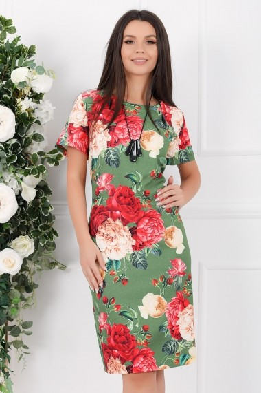 Rochie Octavia verde cu imprimeu floral