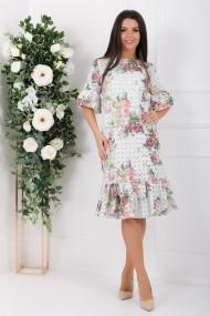 Rochie Sabina alba cu imprimeu floral