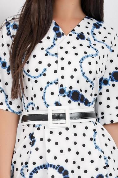Rochie Tiana alba cu buline si imprimeu albastru