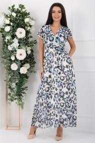Rochie de zi lunga Ejolie alba din voal cu imprimeu albastru si gri
