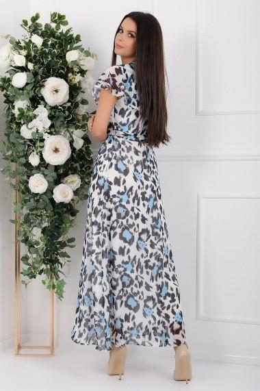 Rochie lunga Myra alba din voal cu imprimeu albastru si gri