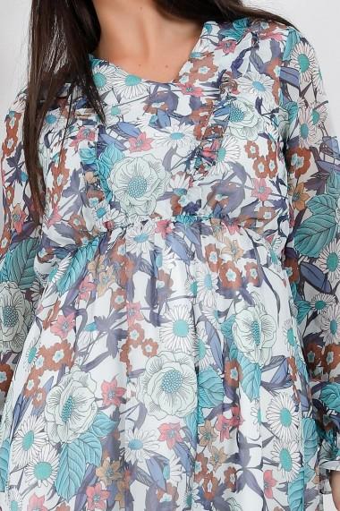Rochie de zi midi Ejolie alba din voal cu imprimeu albastru si maro