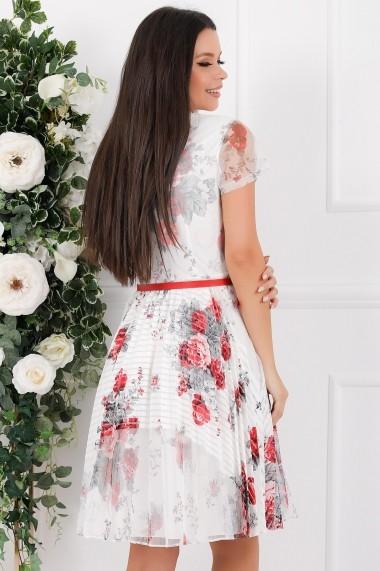 Rochie de zi midi Ejolie alba cu imprimeu rosu si gri