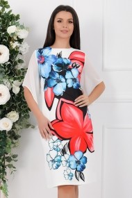 Rochie Kenley alba cu imprimeu albastru si rosu
