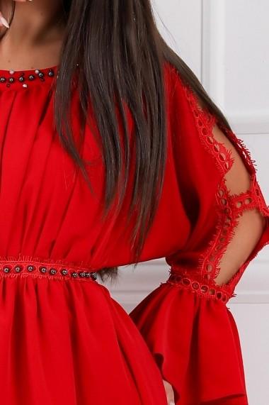 Rochie de zi midi Ejolie rosie cu maneci despicate cu detalii din dantela