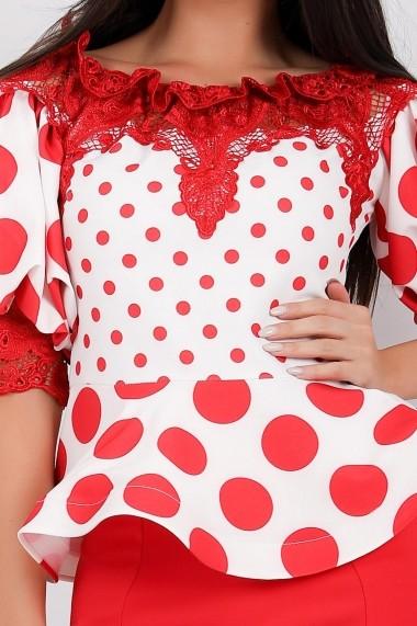 Compleu Ejolie cu fusta rosie si bluza alba cu buline