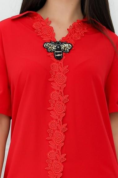 Rochie Ileana rosie tip camasa cu aplicatie din dantela