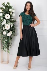 Rochie Pamela cu fusta neagra din tafta si bluza verde din dantela