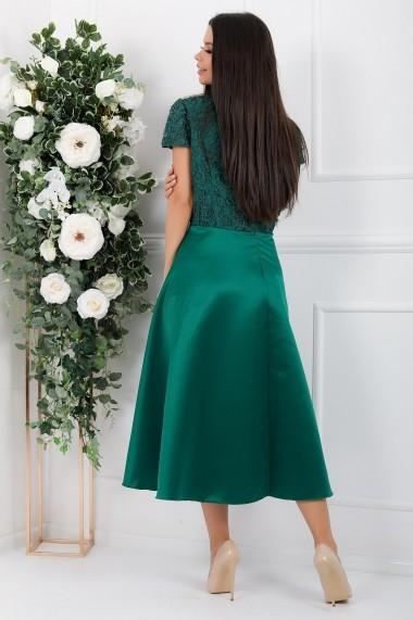 Rochie de seara midi Ejolie verde din tafta si dantela