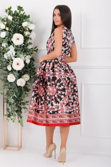 Rochie de seara midi Ejolie din tafta cu imprimeu rosu si ghiocei