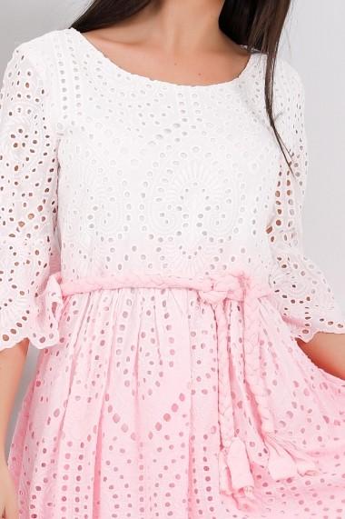 Rochie Celia alba cu roz in degrade din bumbac cu detalii perforate