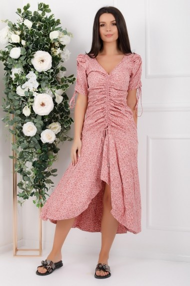 Rochie de zi midi Ejolie roz cu imprimeu cu snur frontal si pe maneci