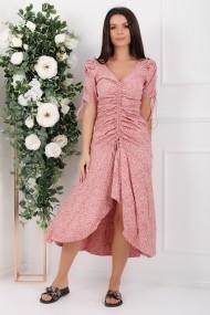 Rochie Roberta roz cu imprimeu cu snur frontal si pe maneci