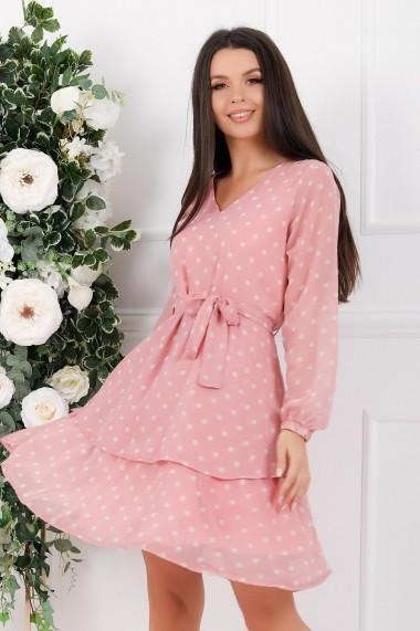 Rochie de zi midi Ejolie roz din voal cu buline