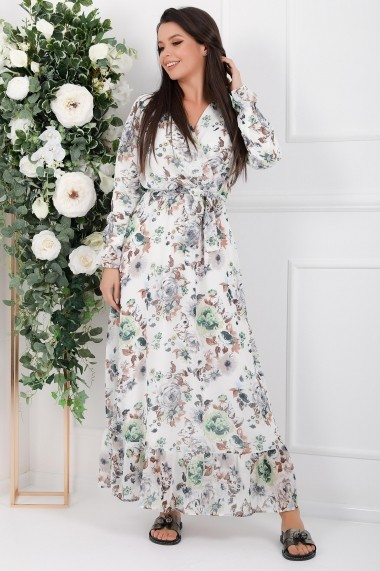 Rochie lunga Avalyn alba din voal cu flori gri si maro