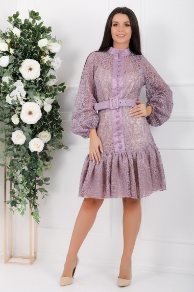 Rochie de seara scurta Ejolie lavanda cu maneci bufante