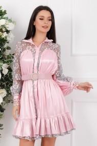 Rochie Niabi roz cu volan si insertii din dantela