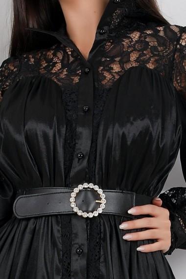 Rochie Niabi neagra cu volan si insertii din dantela