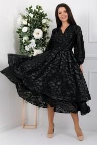 Rochie de seara midi Ejolie neagra din voal cu insertii argintii