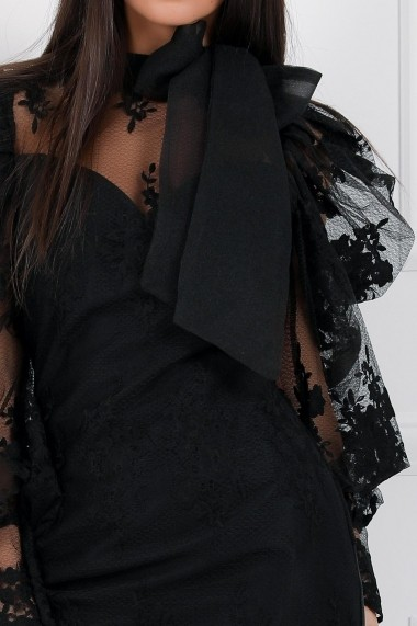 Rochie de seara scurta Ejolie neagra din dantela cu umeri si funda maxi