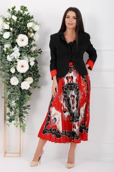 Compleu Lethia negru cu rosu compus din rochie si sacou