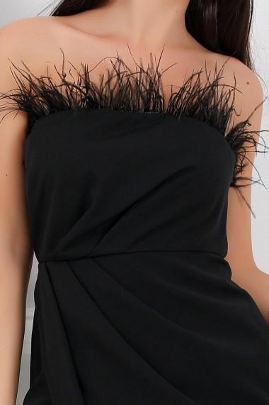 Rochie Chapa neagra cu pene
