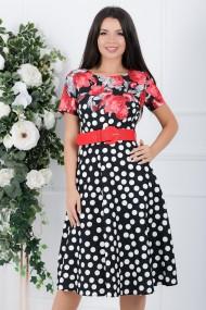 Rochie Samara neagra cu buline albe si imprimeu floral rosu